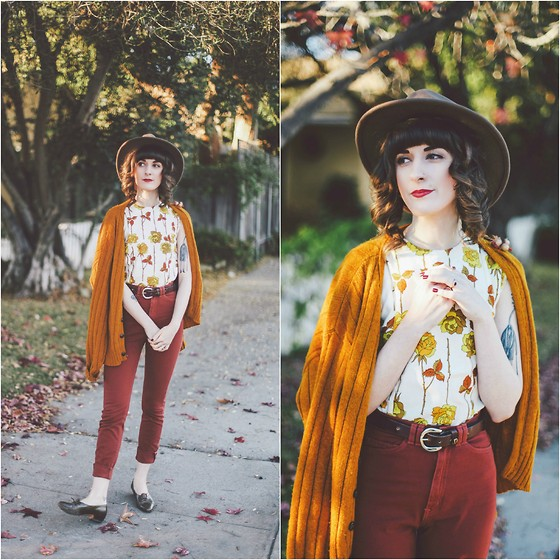 Kiana Mc - Vintage Cardigan, Vintage Top, American Apparel Pants - Autumnal Endings