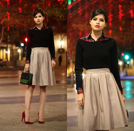 Adriana Gastélum - Chic Wish Faux Leather Skirt, Asos Boxy Bag, Andrea Red Vamp Pumps - Classy