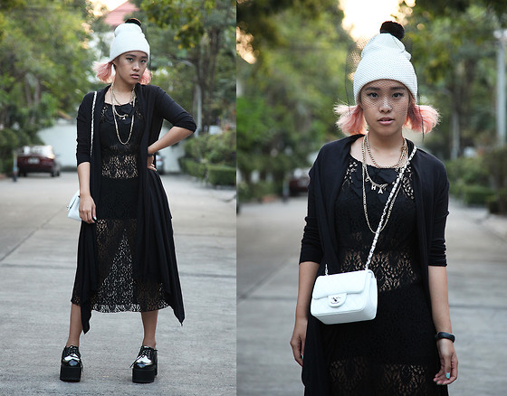Nün Stannard - Sequin & Suede Beanie, Chanel Necklace, Baking Soda Dress, Dkny Cardigan, Chanel Bag, T.U.K. Platforms - How People Treat You Is Their Karma, How You React Is Yours.