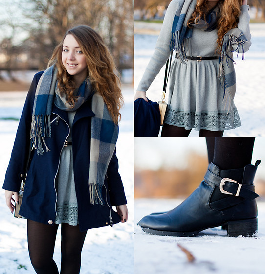 Gabriela Grębska - Coat, Dress, Scarf, Bag, Boots - Winter time