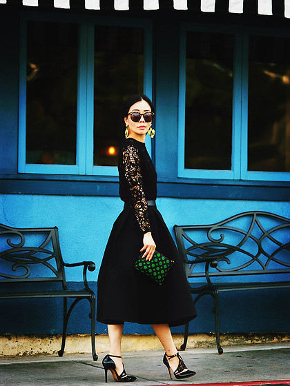 Hallie S. - Zara Lace Top, Asos Full Skirt, Reiss Shoes - Black Lace