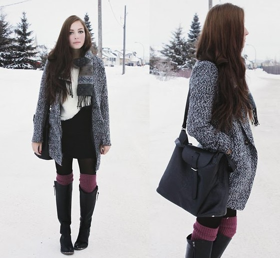 Breanne S. - 6ks Grey Jacket, Yubsshop Textured Skirt, Yubsshop White Faux Fur Sweater, Romwe Slouchy Black Bag, Lulu*S Black Boots, Tabbi Socks Mauve Knee - White Hymnal