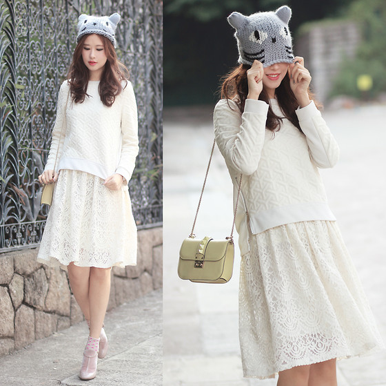 Mayo Wo - Yesstyle Dusty Pink Coat, Yesstyle Lace Collar