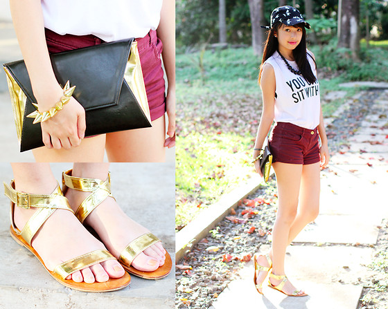 Sophie Ramos - Cole Vintage Gold Sandals, Cole Vintage Black Clutch - You Can't Sit with Us