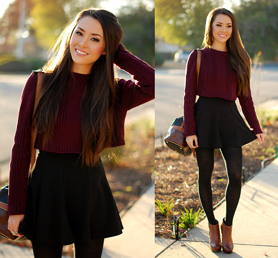 Jessica R. - 33f Burgundy Crop Top, Romwe Black Circle Skirt, Aldo Macullumm Booties - We'll Always Have Paris