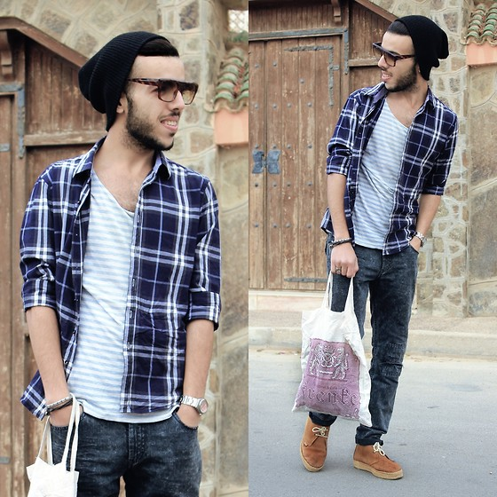 Faissal Yartaa - Rockartel Slim Fit Plaid Sport Shirt, Giantvintage Sunglasses - Life's for the Living