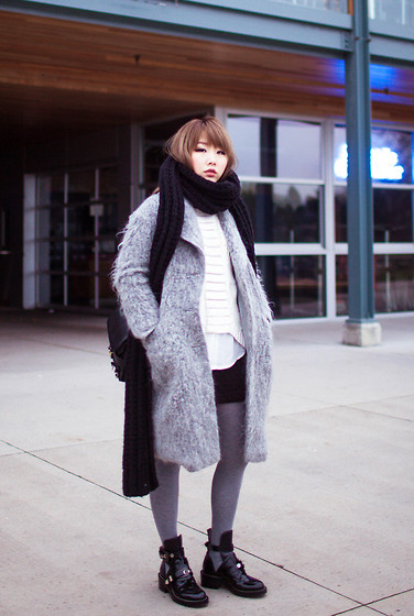 Ivy Xu - H&M Coat, Balenciaga Boots - Shades of grey