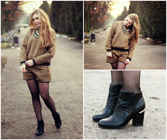Karolina Tworkowska - Pimkie Quilted Co Ord, H&M Black Boots, Zara Necklace - Quilted total look
