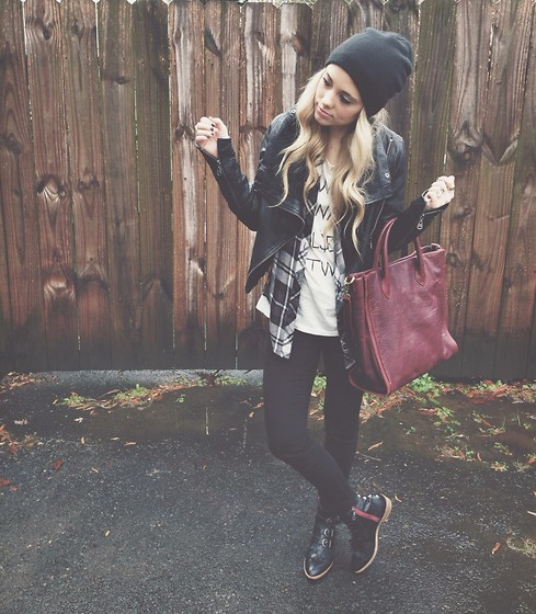 Mary Ellen Skye - Modern Vice Jetts, Madewell Bag, Hips And Hair Olsen T, Rails Plaid Shirt, Doma Leather Jacket - Sundays
