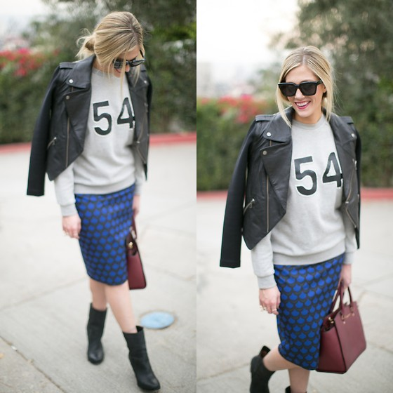 Devon D - Joie Boots, Lovers + Friends Sweatshirt, Lovers + Friends Leather Jacket, Céline Sunglasses - Footballer