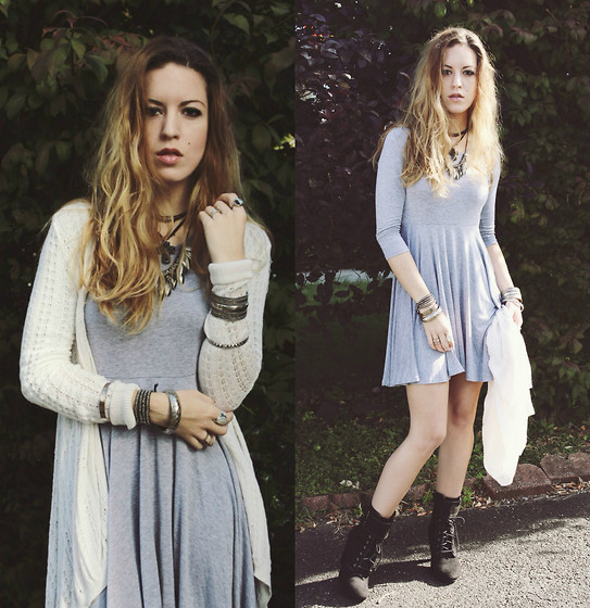 Lauren Schoonover - White Crochet Sweater Cardigan, Heather Gray Skater Dress, Lace Up Boots, Cross Choker - Outfit 185