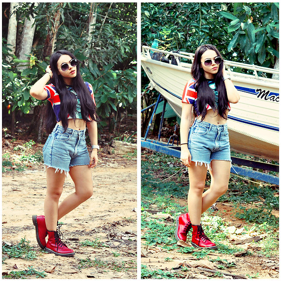 Clara Campelo - Sheinside She Inside Cropped Top, Oasap Booties, Levi's® Levis Shorts, Zerouv Zero Uv Sunnies - On the farm