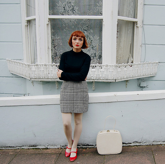 Kerry Lockwood - Primark Black High Neck Jumper, Beyond Retro Vintage Houndstooth Skirt, Office Red Patent Mary Janes, Vintage Cream Vanity Case - Hard Days Night...
