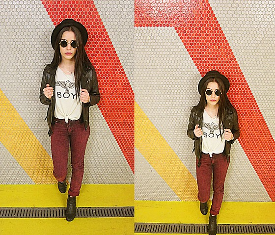 Pretty-Roxanne Stratmains ☥ - Stetson Black Borselino, Ray Ban Round Sunglasses, Boy London White Docker, Cheap Monday Burgundy Acid Jeans - Sympathy for the devil.
