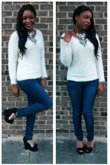 Laura C - Bershka Jumper, Office Shoes - Fluffy & Sparkle // StylishVue