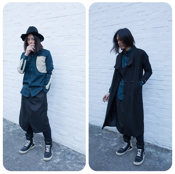 Hipsterken P - Aleksandr Manamis Burn Edge Hat, Machismo Men's Check Shirt, Skirt Pant, Rick Owens High Top Sneaker, Long Wool Coat - Silent sigh