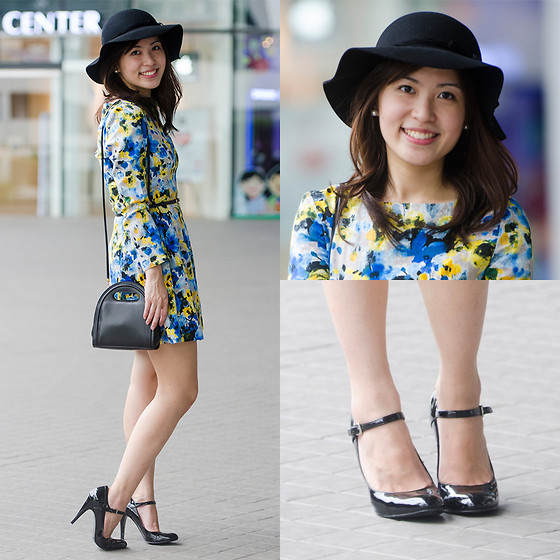 Michelle Lara Tan - Gucci Bag, Nine West Shoes, Tory Burch Dress, Cotton On Hat - Yellow and Blue