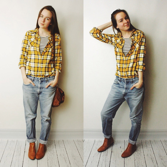 Olivia DeGrado - My Brother's Shirt, Thrifted Jeans, Hudson Striped Crop Top, Zappos Chesnut Flat Boots - Lumberjack Chic