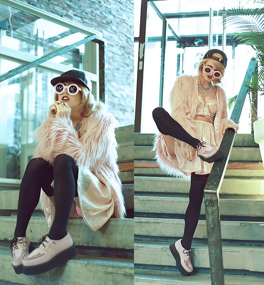 Rachel Lynch - Oak Leather Cap, Unif Hellarina Dress, T.U.K Footwear Pink Creepers - Pink dust