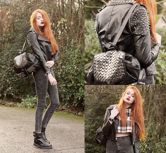Olivia Emily - Romwe Spike Jacket, Rebecca Minkoff Studded Backpack, Missguided Check Crop Top, Missguided Acid Wash High Waist Jeans, Romwe Spike Cuff - Happy New Year, Lookbook!