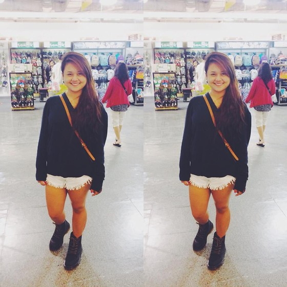 Michi Eleni Camaña - Bpc Sweatshirt, Cotton On White Shorts, Dr. Martens Booties, Forever 21 Sling Bag - 2014 <3