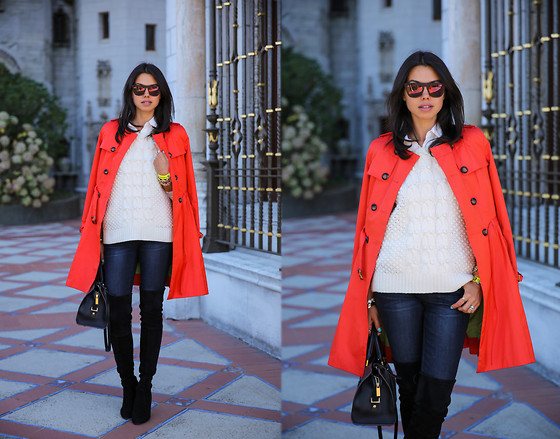 Annabelle Fleur - Stuart Weitzman Boots, Rich & Skinny Jeans, Cole Haan Trench Coat, J. Crew Sweater - ORANGE CRUSH