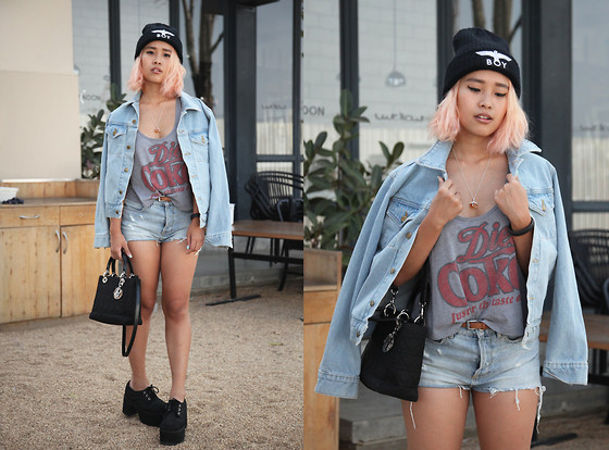 Nün Stannard - Boy London Beanie, American Apparel Denim Jacket, Forever 21 Crop Top, Topshop Shorts, Christian Dior Bag, T.U.K. Platforms, Aloha Gaia Necklace - Ghost Town.