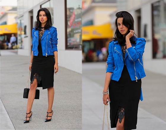 Annabelle Fleur - Style Stalker Dress, Club Monaco Jacket, Valentino Shoe - LEATHER & LACE