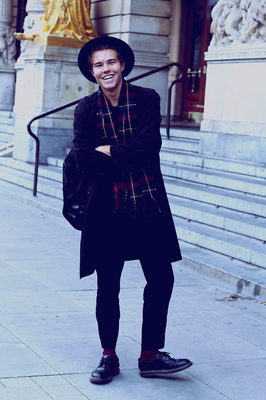 Andreas Wijk - Second Hand Jacket, Urban Outfitters Hat, Cos Bag, Zara Trousers, Acne Studios Sweater - S M I L E