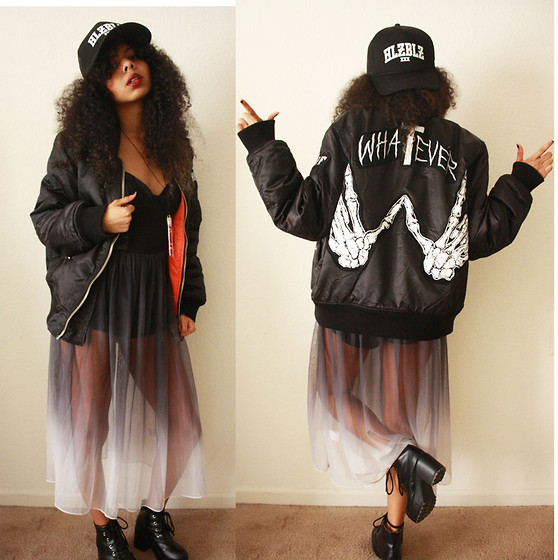 Alexis Brooks - Hellz Bellz Trucker Hat, Unif Whatever Jacket, Motel Rocks Ombre Dress, Armkel Boots, Perilin Jewelry Petals In A Vile - I'M A MOTEL ROCKS BABY NOW