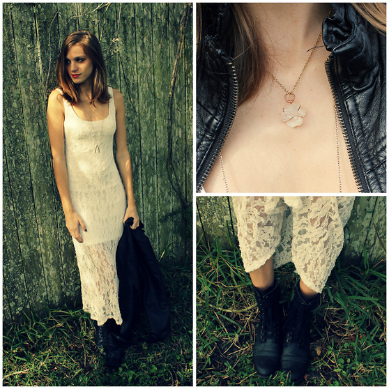 Emerald Haze - White Lace Dress, Leather Jacket, Emerald Haze Crystal Jewelry By Me, Combat Boots - Crystals