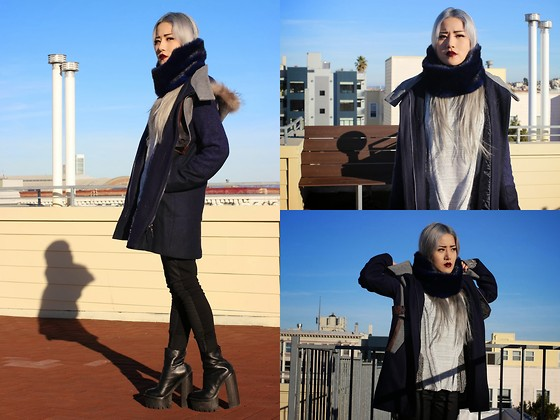 Eugénie Grey - Sheinside Detachable Fur Hood Coat, Shopakira Mixed Knit Sweater, Nasty Gal Jetsetter Faux Fur Scarf, Articles Of Society Mya Black Moto - Midnight Blue