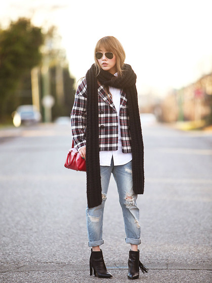 Ivy Xu - Zara Jacket, Zara Jeans, Sam Edelman Boots, Yves Saint Laurent Bag - Attached to tartan
