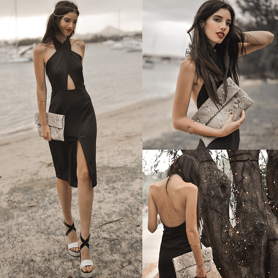 Elle-May Leckenby - Ringuet Black Sleek Cross Over Dress, Natural Python Janny Clutch - Dinner by the river