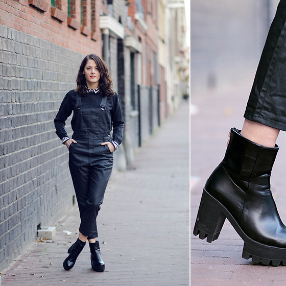 Renée Sturme - Monki Overalls, Monki Silk Sweater, Choies Platform Boots - Coated