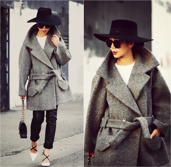 Hallie S. - Carven Coat, Prada Shoes, H&M Pants, Masion Michel Hat - Belted