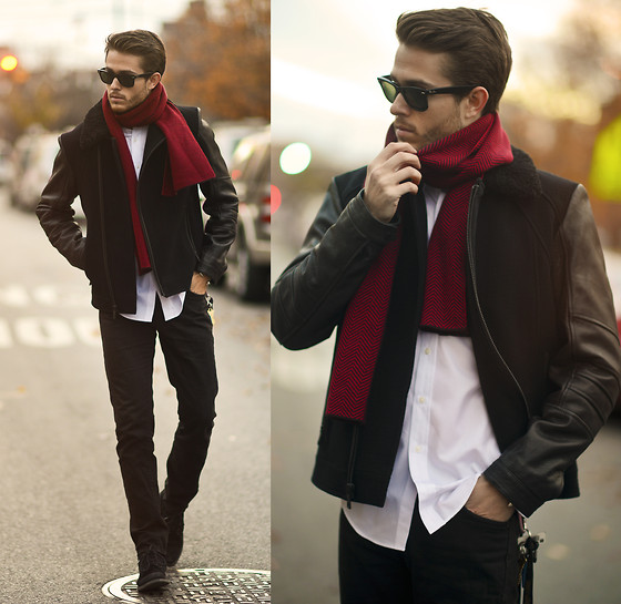 Adam Gallagher - Jacket, Ray Ban Rayban, Boots - Scarlet
