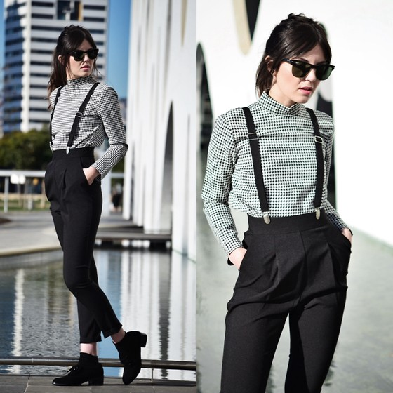 Laura Views - Persun Top, Asos Pants, Shellys London Shoes - Houndstooth print +high waist pants + suede and paillette sh