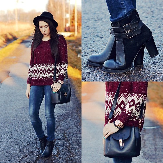Pam S - Chic Wish Jumper, Stradivarius Denim, Persun Boots - Burgundy & denim