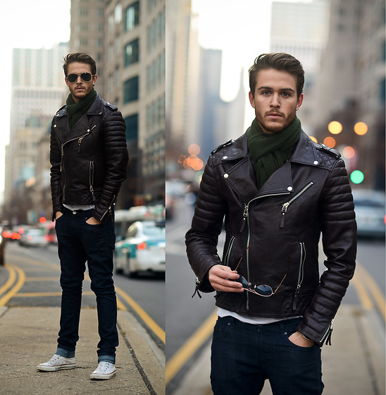 Adam Gallagher - Similar Here  > Leather Jacket, Similar Here  > Scarf, Sunnies, White V Neck, Converse High Tops - Chitown