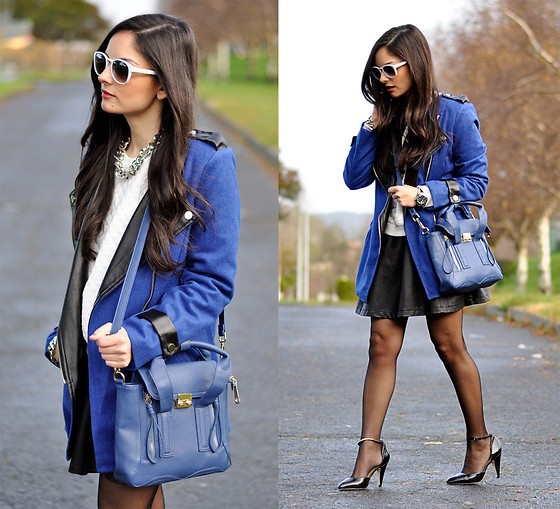 Alba . - Sheinside Coat, Sheinside Skirt, Persun Bag, Zerouv Eyewear - ...Blue Blue Blue...