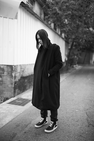 Hipsterken P - Layers Wool Coat, Dress Pant, Rick Owens High Top Sneaker - Polar vortex