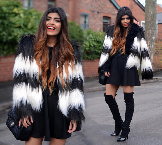 Kavita D - Frontrowshop Black And White Fur Coat, Missguided Furry Black Crop Sweater, Ebay Black Skater Skirt, Stylistpick Over The Knee Heel Boots - Furry Coat