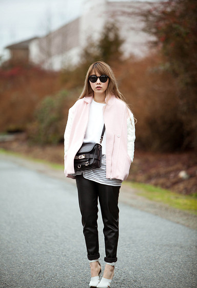 Ivy Xu - Jolly Chic Jacket, Proenza Schouler Bag, American Apparel Leather Pant, Alexander Wang Heels - Winter pastel
