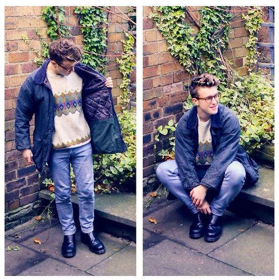 Euan McLaren - Barbour Jacket, Topman Brown Glasses, Vintage Icelandic Jumper, Dr. Martens Black Boots, Cheap Monday Blue Jeans - When it's cold outside