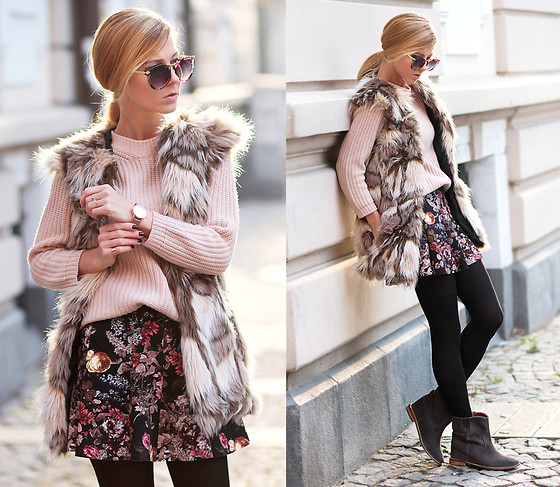 Sirma Markova - Choies Faux Fur Waistcoat, Pull & Bear Skirt, Choies Ankle Boots, Zara Sweater, Choies Sunglasses With Metal Arrow In Floral, Parfois Watch - Winter flowers