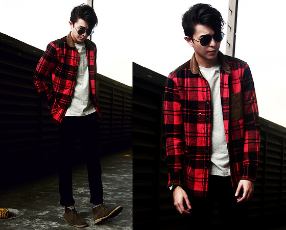 Mikyle Quizon - Guess? Aviator, Samuel & Kevin Red Plaid With Details, Qf   Sm Accessories Black Watch, Stance Socks Printed, Giordano Plain Tee, Zara Black Denim, Zara Desert Boots - Am I too late for christmas?