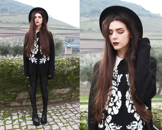 CLAUDIA Holynights - A Fabrica Dos Chapeus Hat, Mango Jumper, Leggings, Jeffrey Campbell Mulder - Roses are red violets are blue