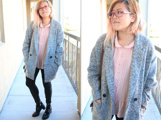Bernadette Le - Fifth Avenue Coat, Forever 21 Peter Pan Collar Top, Jeggings, Urban Outfitters Cutout Mary Janes - Casual