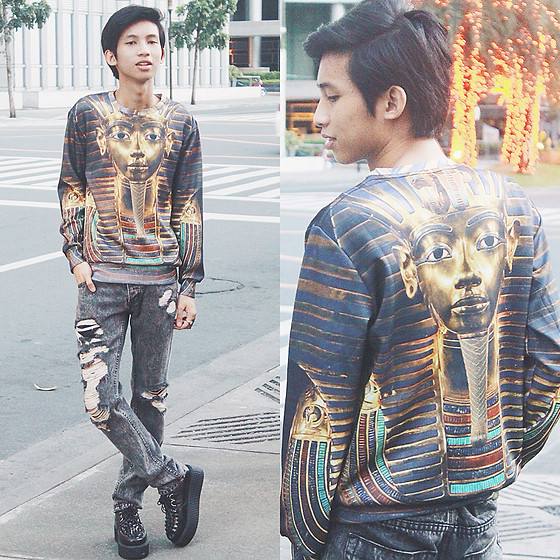 Lanz Paolo - Pharaoh Sweater, Topman Tattered Skinny Jeans, Androgyne Manila Creepers - King of Egypt
